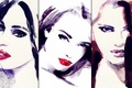 Picture picture, look, three, Wallpaper from lolita777, painting, image, lips, watercolor, trio, girls, eyes, paint