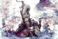 Picture flag, Assassin's creed, axe, hood, blood, soldiers, the battle, Assassin`s Creed 3, gun