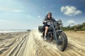 Picture motorcycle, girl, beach