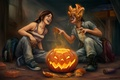 Picture fun, pumpkin, The Last of Us, girls, art