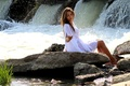 Picture water, girl, squirt, nature, stones, waterfall, brunette