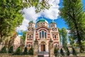 Picture the sky, clouds, trees, fence, gate, Ukraine, Lions, the Church of St. George