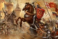 Picture The battle of Crecy, The French, The hundred years war, fortress, The British, knights, warriors