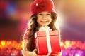 Picture girl, bokeh, child, mood, gift, joy, smile