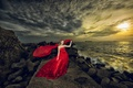Picture Asian, dress, sunset, girl, sea, red dress, decoration, wreath, style, stones