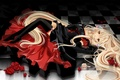 Picture girl, roses, stockings, dress, lies, zettai ryouiki, chii, chobits