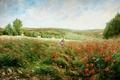 Picture flowers, picture, JACOB PHILIPP HACKERT, trees, girl, field, Maki, hills, landscape