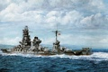 Picture Navy, ship, art, Japanese, WW2, Hyuga, military, battleship, IJN, battleship