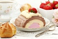 Picture ice cream, sweets, cake, profiteroles, cakes, Cup, dessert, sweet, berries, spoon, strawberry