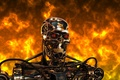 Picture cyborg, terminator, t-800, steel, metal, Terminator, robot, fire