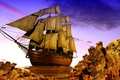 Picture photo, Rocks, Ship, Sailboat, 3D Graphics