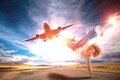 Picture road, the sky, girl, the sun, clouds, flight, the plane, creative, mood, dance, jeans, Mike, ...