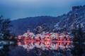 Picture winter, landscape, reflection, river, building, mountain, Germany, Bayern, Germany, Bavaria, Kallmünz, river Neb, Naab River, ...