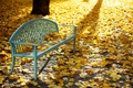 Picture bench, Park, autumn, leaves