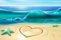 Picture sea, wave, beach, heart, waves, starfish, beach, sea, heart, starfish