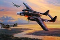 Picture WW2, painting, aircraft art, P-61 Black Widow, the plane, Fighter, P-61, Black Widow