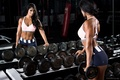 Picture dumbbells, gym, mirror, woman, fitness, sexy, ass, muscle, butt