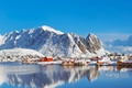 Picture snow, mountains, winter, the village, Norway, sea, house, Pure, Norway, the sky, Lofoten Islands