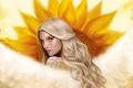 Picture flower, the sun, art, skin, girl, sunflower, fur