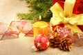 Picture red, New Year, gifts, holidays, Christmas, toys, decoration, bumps, ball, tape, tree, candle, Christmas