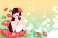Picture flowers, figure, girl, butterfly, red, Maki, lipstick