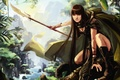 Picture forest, girl, weapons, figure, art, hunting, cloak, hunter, halberd