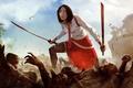 Picture Dead Island, corpses, art, art, battle, girl, figure, blood, sword, Xian Mei, katana, Epidemic, blood, ...