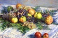 Picture picture, fruit, Claude Monet, Still life with Pears and Grapes