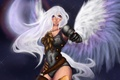 Picture the sky, look, girl, night, fiction, the moon, hand, wings, angel, art, white hair