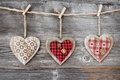 Picture tree, heart, rope, buttons, hearts, clothespins, fabric