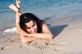 Picture Earrings, Face, Water, Sand, Eyes, Face, Girl, Beauty, Beach, Girl, Tina Kandelaki, Tina Kandelaki, Tinatin, ...