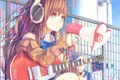 Picture girl, guitar, anime, headphones, art, loudspeaker, dararito