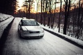 Picture forest, snow, Doroga, Audi, Audi, stance, sunset