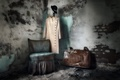 Picture clothing, chair, suitcase