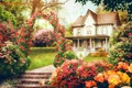 Picture flowers, house, kitty, IgnisFatuusII, retouch