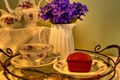 Picture flowers, table, background, pitcher, tablecloth, tray, cupcake, tea set