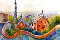 Picture home, roof, watercolor painting, the city