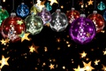 Picture black background, new year, stars, Christmas, gold, decoration, bright, background, a lot, balls, stars, Shine, ...