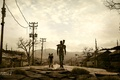 Picture people, dog, the evening, fallout