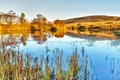 Picture lake, the sky, autumn, mountains, trees
