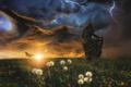Picture the storm, girl, clouds, butterfly, lightning, meadow, dandelions