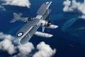 Picture Fairey Swordfish, WW2., art, British, the plane, bomber, seaplane, torpedo