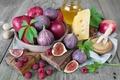 Picture leaves, berries, raspberry, apples, Board, food, cheese, Bank, sugar, bowl, fruit, honey, figs