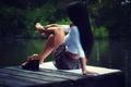 Picture lake, legs, sitting, iron, girl