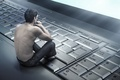 Picture back, keyboard, laptop, guy