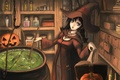 Picture hat, halloween, book, pumpkin, boiler, girl, brew, witch