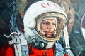 Picture legend, Yuri Gagarin, astronaut, the suit, hero, pilot, USSR