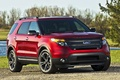Picture jeep, red, Ford, explorer, ford, sport, drives, trees, water, Explorer, the front, sport, the sky
