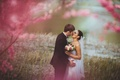Picture girl, flowers, nature, background, pink, widescreen, Wallpaper, mood, woman, tenderness, watch, kiss, bouquet, pair, costume, ...