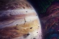 Picture art, asteroids, Jupiter, jupiter and juno, satellite, planet, giant, space